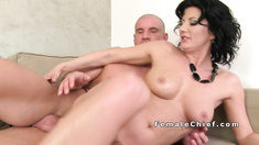 Muscled guy bangs Milf agent in office