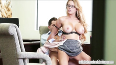 Big ttis Corrina Blake tasting her boss huge dick until it gets so stiff