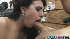 Slutty babe Kallie Joe in the shop trying to make money out of a ring
