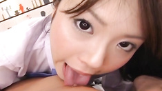 Yuri gives an amazing blowjob in pov porn