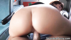 Hottie babe Tina bounces on the drivers big hard cock