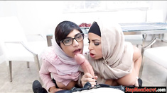 Two Arab women Julianna Vega and Mia Khalifa shared a cock