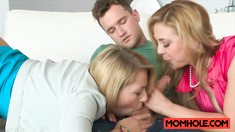 Teen Zoey Monroe gets pussy munched by milf mom Cherie Deville