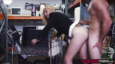 Blonde milf grabs cock and sucks it deeply before getting fucked