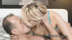 Blonde mature lady fucks hard in bedroom