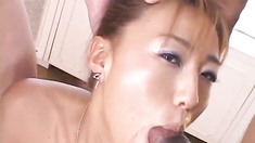 Japanese AV Model gets two cocks in her love holes