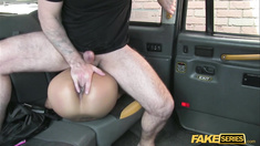 A busty tourist gets fucked and cummed inside a cab in europe