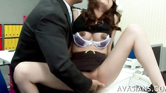 Stunning asian sexy secretary enjoys pussy fingering by her team leader