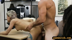Pervert pawn man fucks black BFs girl inside his office