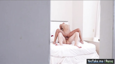 Blonde chick Uma Jolie gives blowjob and gets pounded on cam
