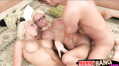 Two busty women Rikki Six and Nikita Von James share a cock