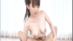 Yui Hatano, sexy Asian milf enjoys deep throating cock before jumping on for a hardcore cock ride during hot sex date