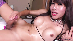 Longhaired Thai TS Annas epic solo masturbation  trannygirlz.com