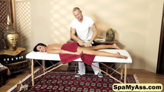 Horny stud massages Tiffany Brookes wet little pussy