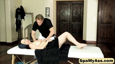 Big titty brunette Ray Veness is seduced by her horny masseur