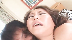 Japanese AV Model gets doggy during blowjob