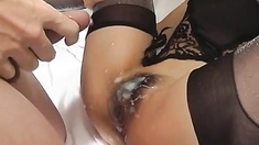 Rara Asian babe shows off hairy pussy loaded with cum