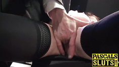 Big tits brunette Samantha Bentley deepthroats a big dick