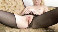 Crazy British masturbates in pantyhose