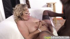 Busty blonde cougar takes on fat black cock