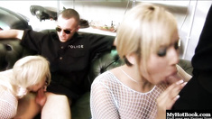 This lucky mechanic gets treated to a threesome with two beautiful blonde