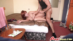 Cute redhead Lucy Bell blowjob anal missionary