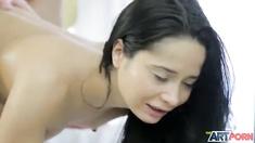 Naughty girl mouthful in massage salon