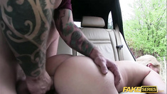 Niky needs a ride and fucked in a cab by the driver who helped her