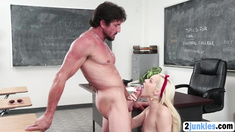 Blonde high school slut fucked hard by her older big cocked teacher in the classroom