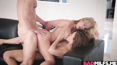 Hot boyfriend 3some with gf Karter and mom Cherrie