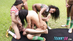 Group of trannies banging horny stud outdoors