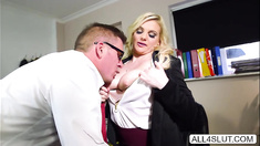 Busty Katy Jayne gets her pussy licked under the table