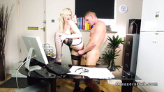 Busty blonde fucks it guy in her office