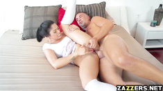 Keiran Lee receives a mouthful blowjob from Vanessa Sky