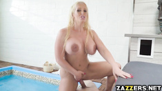Alura Jenson masturbates and sucks on Jordi El Niño Polla's dick