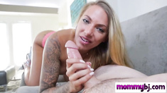 Blonde MILF with tattoos and big tits giving an amazing deepthroat to a long cock