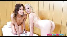 3 Tiny Teens Team up on Big Cock in Sauna