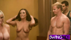 Slutty babes enjoy pole dancing in reality show