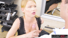 Cute blonde Lucy Heart rides big hard dick in her hair saloon