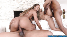 4some with black MILF Misty and dauther Adriana