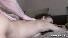Busty ebony amateur bangs in casting