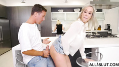 Horny Brandi Love gets her wet pussy pounded in the bathroom