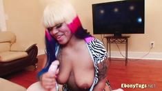 Busty Ebony handjob and titjob