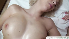 Hot blonde gets fucked by a stranger after flashing her tits in euro streets
