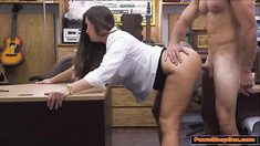 Busty waitress sucks cock for extra tips