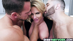Lusty blonde MILF Phoenix Marie drilled by two horny hunks