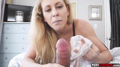 Blonde MILF stepmom caught a horny stepson masturbating