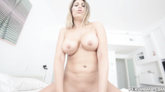 Stepmom pushes him onto bed and climbs on his cock