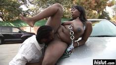 Ebony cutie gets her wet cunt banged