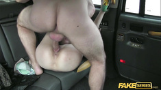 Blonde bitch April gets a free ride on the cab drivers dick